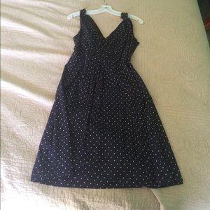 Navy and white polka dot Lands End dress